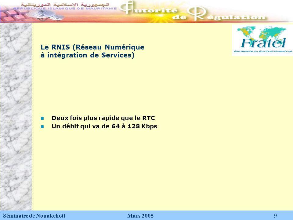 Le RNIS (Réseau Numérique à intégration de Services) Deux fois plus rapide que le RTC Un débit qui va de 64 à 128 Kbps Séminaire de Nouakchott Mars 20