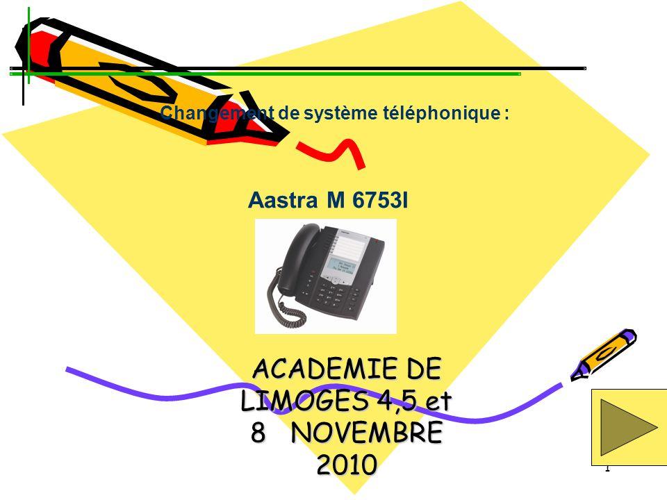 1 ACADEMIE DE LIMOGES 4,5 et 8 NOVEMBRE 2010 Aastra M 6753I Changement de système téléphonique :