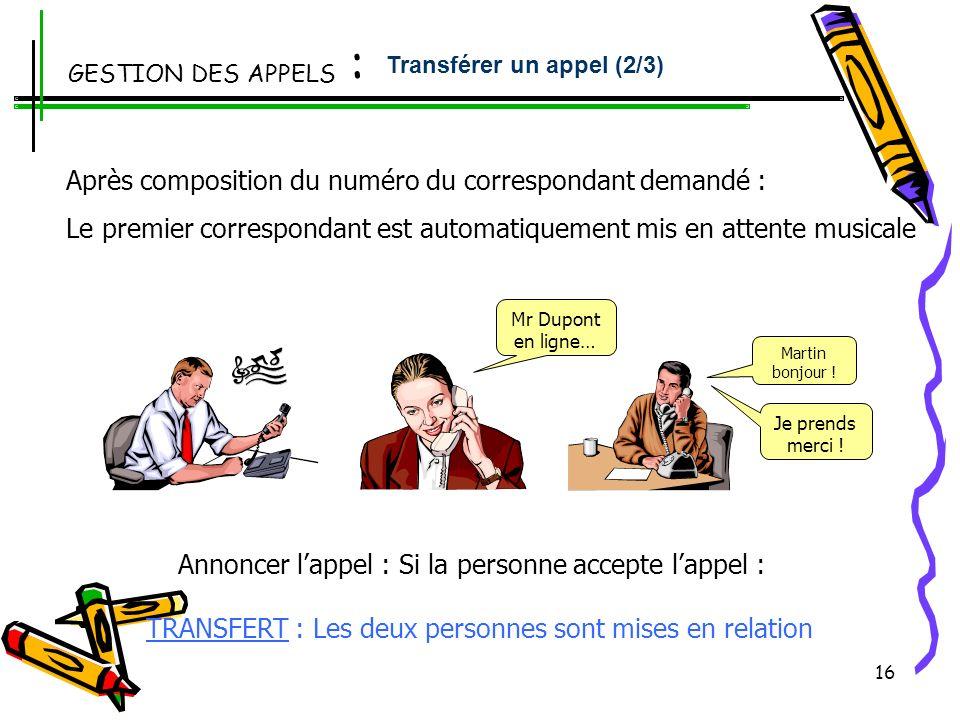 15 En ligne avec un correspondant : Transfert + numéro de poste destinataire Une fois votre correspondant obtenu « Raccrocher »ou « Transfert » Un ins