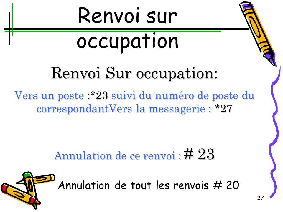 26 Renvoi sur Non réponse ou différé Renvoi Différé: Vers un poste :*22 suivi du numéro de poste du correspondant Vers la messagerie : *26 Annulation