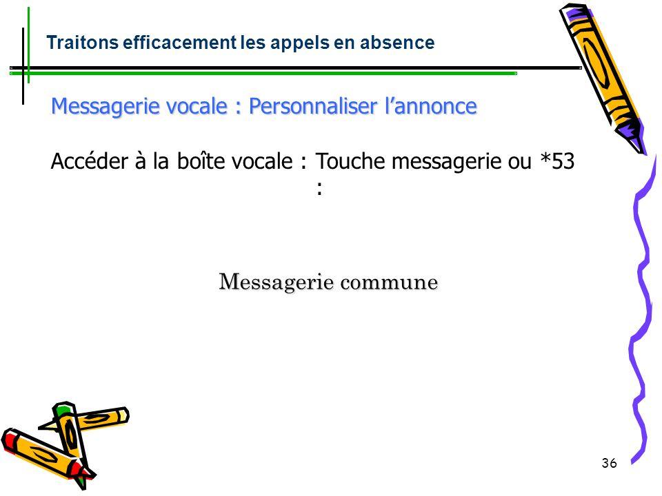 35 Messagerie vocale : Initialisation Appel messagerie *53 ou 4399 puis suivre les instructions du guide vocal : + numéro de boite vocale suivi de # N