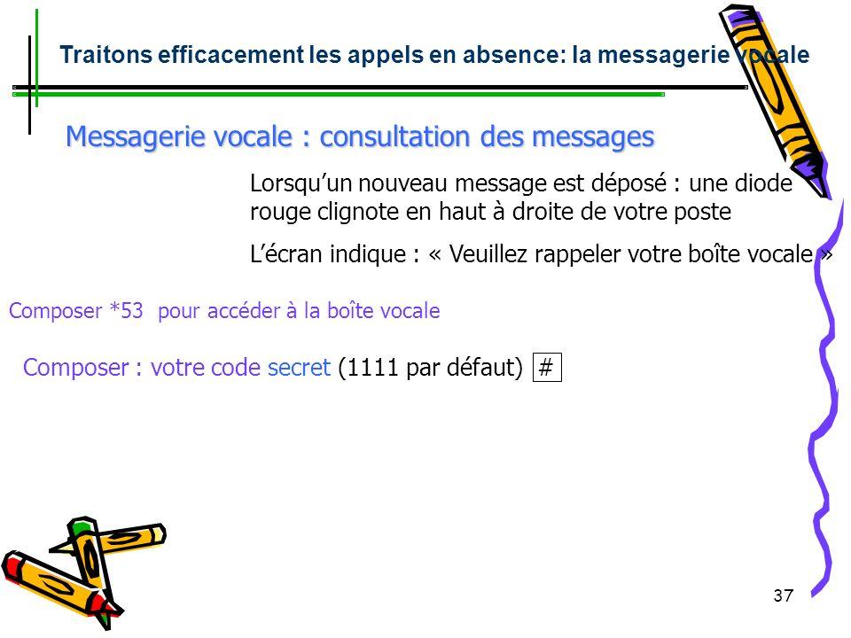 36 Messagerie vocale : Personnaliser lannonce Touche messagerie ou *53 : Accéder à la boîte vocale : Traitons efficacement les appels en absence Messa
