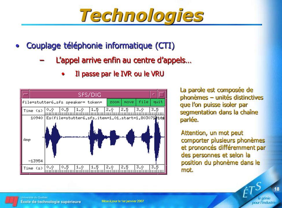 Mise à jour le 1er janvier 2007 17 Technologies Couplage téléphonie informatique (CTI)Couplage téléphonie informatique (CTI) –Lappel arrive enfin au c