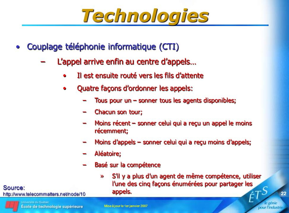 Mise à jour le 1er janvier 2007 21 Technologies Couplage téléphonie informatique (CTI)Couplage téléphonie informatique (CTI) –Lappel arrive enfin au c