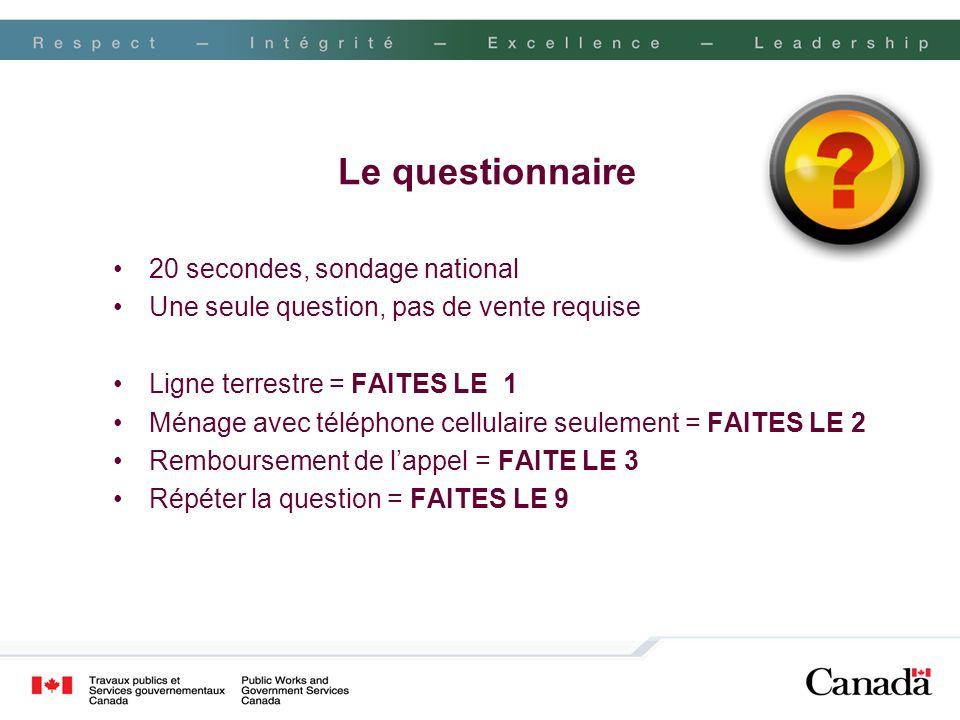 Le questionnaire 20 secondes, sondage national Une seule question, pas de vente requise Ligne terrestre = FAITES LE 1 Ménage avec téléphone cellulaire