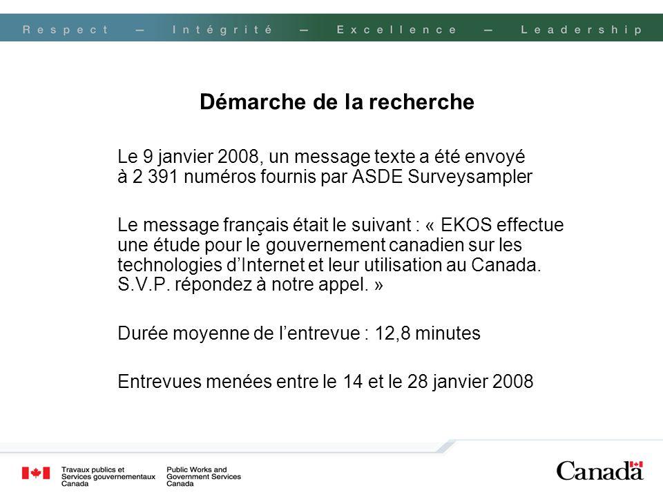 Démarche de la recherche Le 9 janvier 2008, un message texte a été envoyé à 2 391 numéros fournis par ASDE Surveysampler Le message français était le