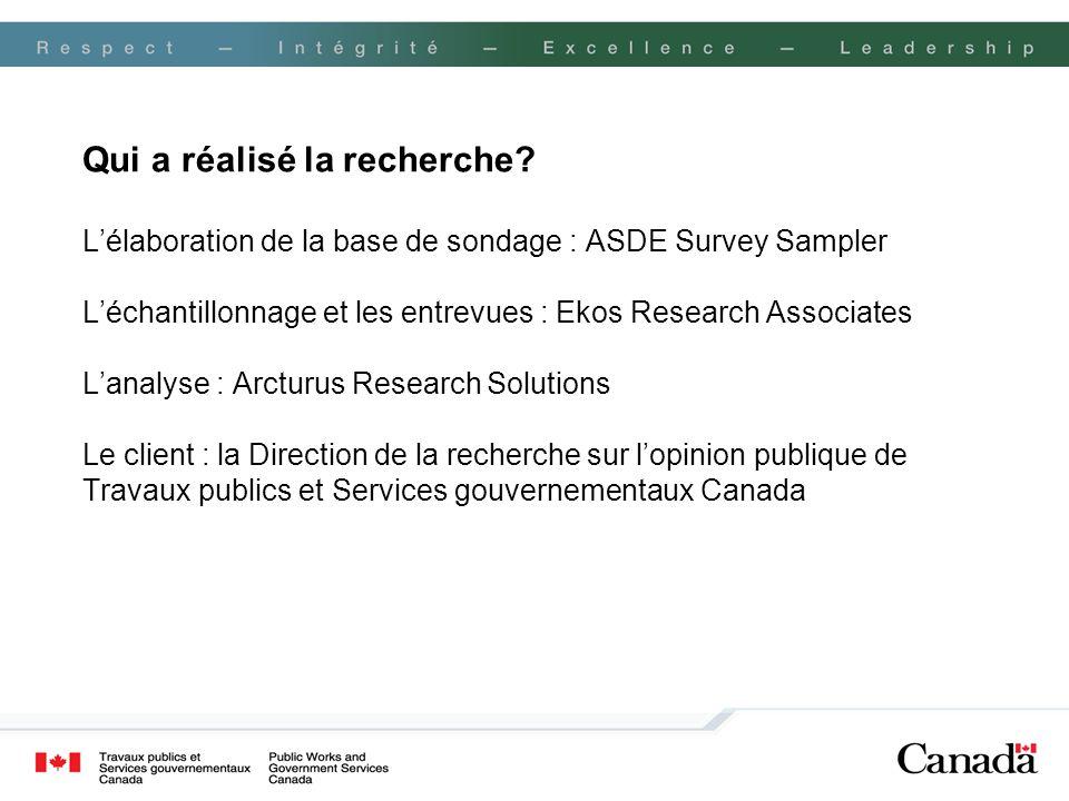 Qui a réalisé la recherche? Lélaboration de la base de sondage : ASDE Survey Sampler Léchantillonnage et les entrevues : Ekos Research Associates Lana
