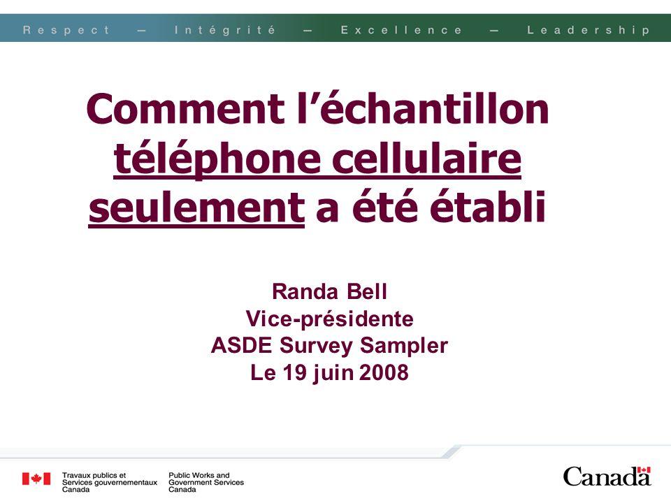 Démarche de la recherche Le 9 janvier 2008, un message texte a été envoyé à 2 391 numéros fournis par ASDE Surveysampler Le message français était le suivant : « EKOS effectue une étude pour le gouvernement canadien sur les technologies dInternet et leur utilisation au Canada.