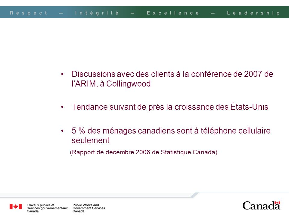 Recherche du gouvernement du Canada sur les nouvelles technologies de communication : les trois méthodes Article Téléphone cellulaire seulement CAGC en ligne Échantillon2031 7182 619 PériodeJanvier 2008 Oct./nov.