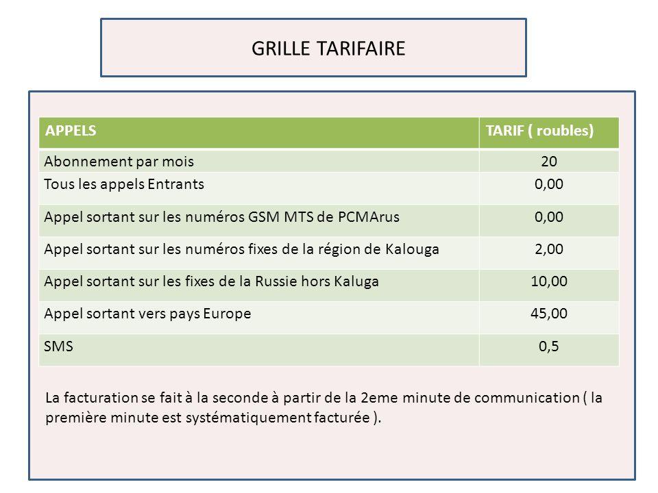 GRILLE TARIFAIRE La facturation se fait à la seconde à partir de la 2eme minute de communication ( la première minute est systématiquement facturée ).