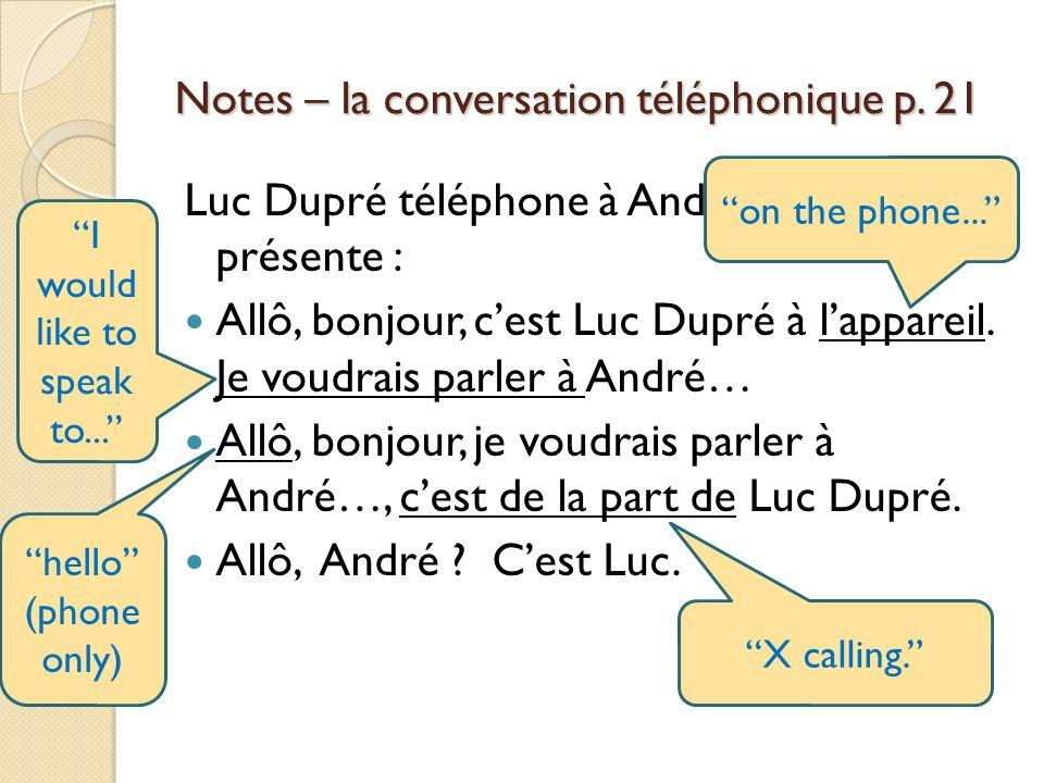 Notes – la conversation téléphonique p. 21 Luc Dupré téléphone à André. Il se présente : Allô, bonjour, cest Luc Dupré à lappareil. Je voudrais parler