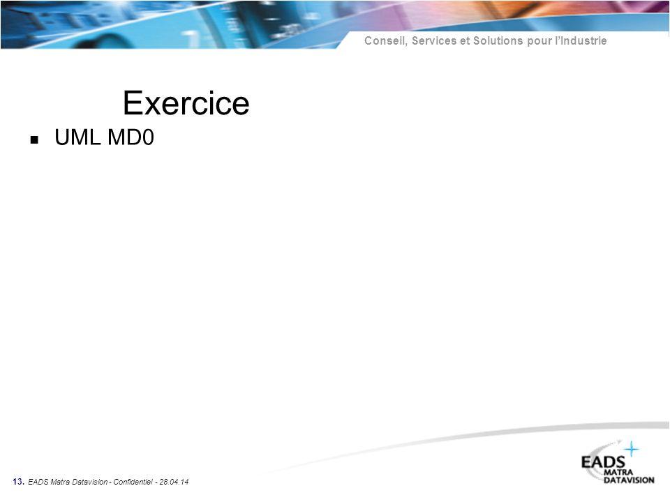 Conseil, Services et Solutions pour lIndustrie 13. EADS Matra Datavision - Confidentiel - 28.04.14 Exercice n UML MD0