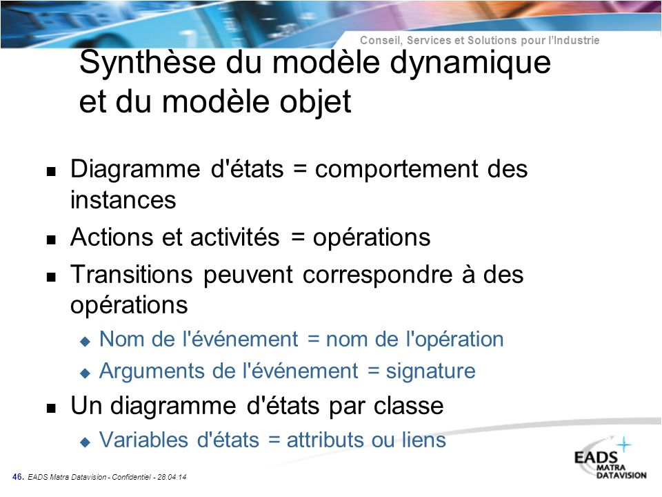 Conseil, Services et Solutions pour lIndustrie 46. EADS Matra Datavision - Confidentiel - 28.04.14 Synthèse du modèle dynamique et du modèle objet n D