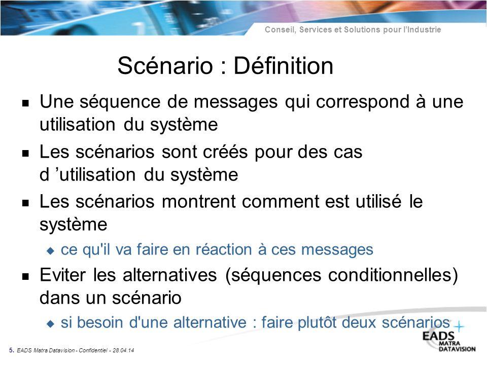 Conseil, Services et Solutions pour lIndustrie 5. EADS Matra Datavision - Confidentiel - 28.04.14 Scénario : Définition n Une séquence de messages qui