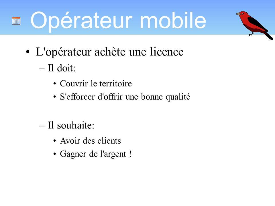 Opérateur mobile L opérateur achète une licence –Il doit: –Il souhaite: Couvrir le territoire S efforcer d offrir une bonne qualité Avoir des clients Gagner de l argent !