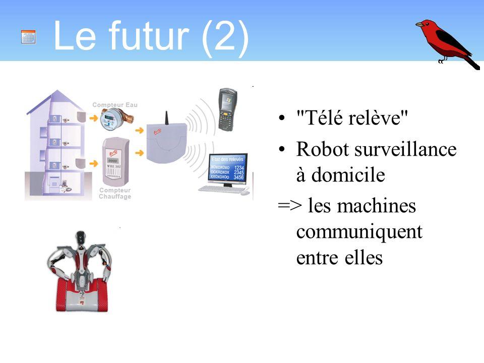 Le futur (2) Télé relève Robot surveillance à domicile => les machines communiquent entre elles