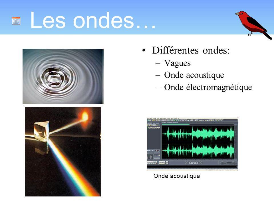 Les ondes… Différentes ondes: –Vagues –Onde acoustique –Onde électromagnétique Onde acoustique