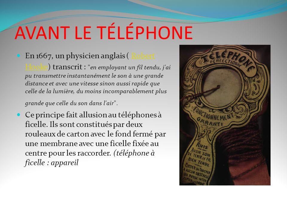 AVANT LE TÉLÉPHONE En 1667, un physicien anglais ( Robert Hooke) transcrit : en employant un fil tendu, j ai pu transmettre instantanément le son à une grande distance et avec une vitesse sinon aussi rapide que celle de la lumière, du moins incomparablement plus grande que celle du son dans l air .Robert Hooke Ce principe fait allusion au téléphones à ficelle.
