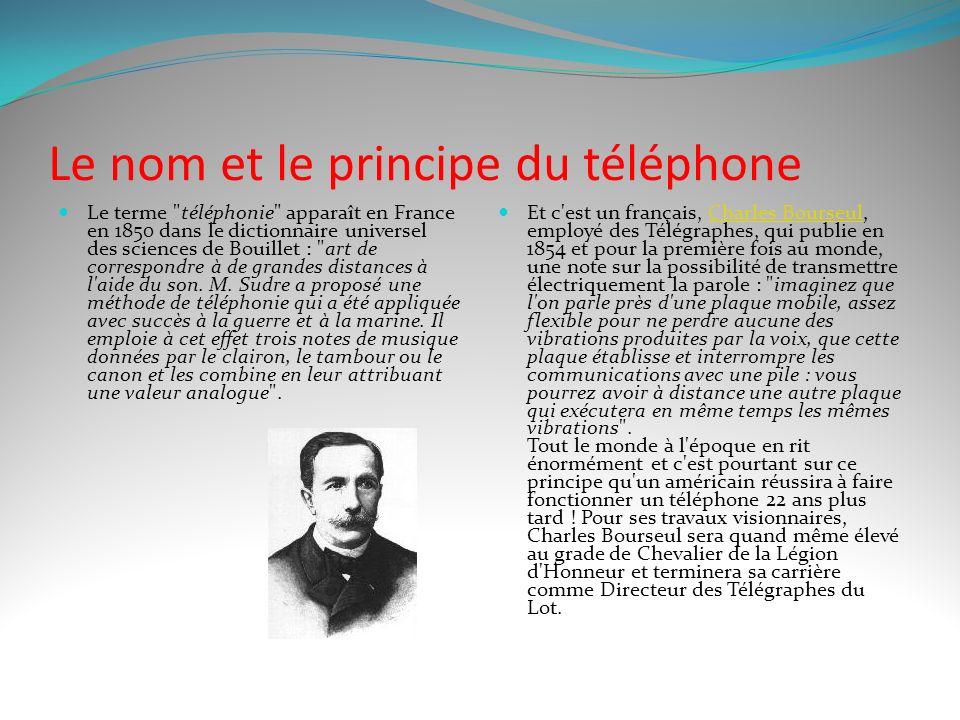 Le nom et le principe du téléphone Le terme téléphonie apparaît en France en 1850 dans le dictionnaire universel des sciences de Bouillet : art de correspondre à de grandes distances à l aide du son.
