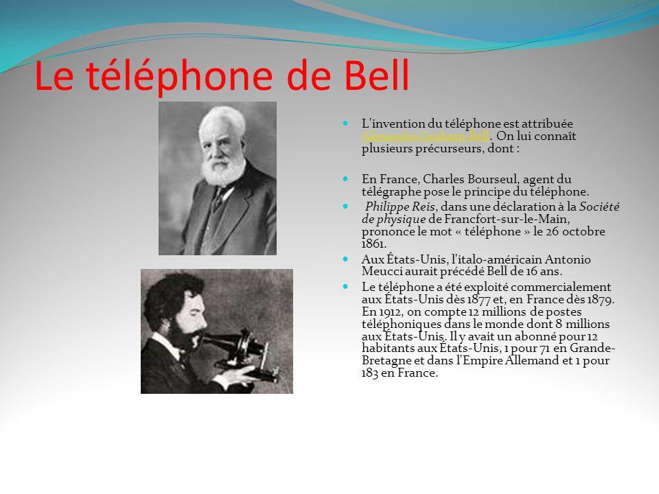 Le téléphone de Bell L invention du téléphone est attribuée Alexandre Graham Bell.