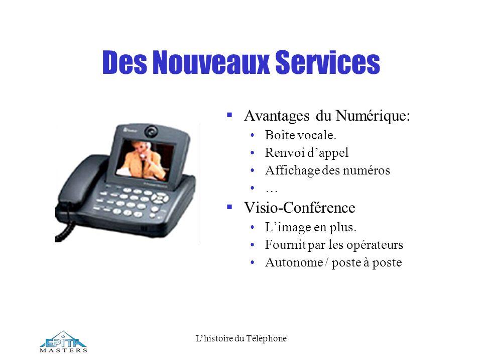 Lhistoire du Téléphone Des Nouveaux Services Avantages du Numérique: Boîte vocale. Renvoi dappel Affichage des numéros … Visio-Conférence Limage en pl