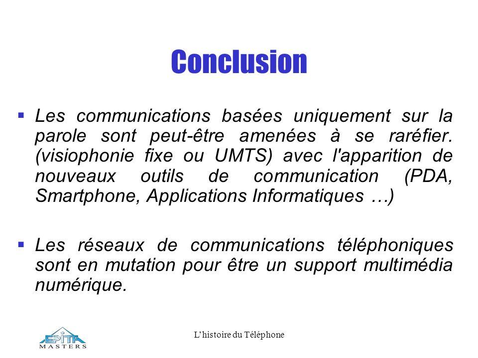 Lhistoire du Téléphone Conclusion Les communications basées uniquement sur la parole sont peut-être amenées à se raréfier. (visiophonie fixe ou UMTS)
