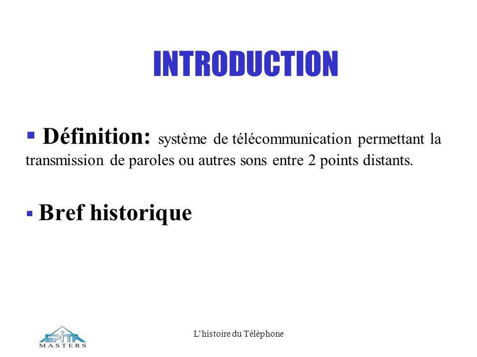 Lhistoire du Téléphone INTRODUCTION Définition: système de télécommunication permettant la transmission de paroles ou autres sons entre 2 points dista