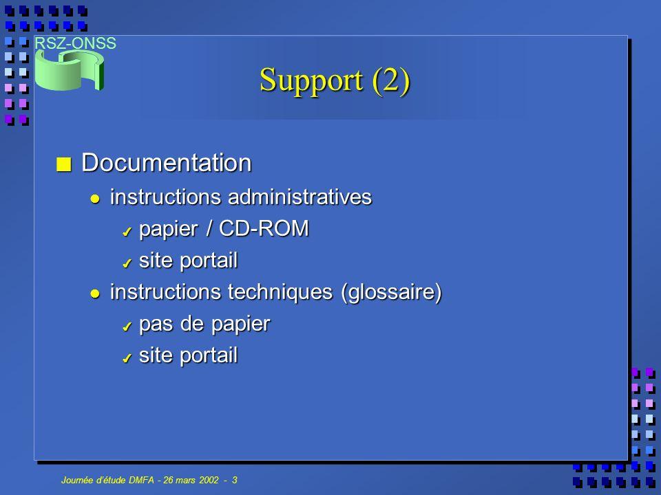 RSZ-ONSS Journée détude DMFA - 26 mars 2002 - 3 n Documentation instructions administratives instructions administratives 4 papier / CD-ROM 4 site por