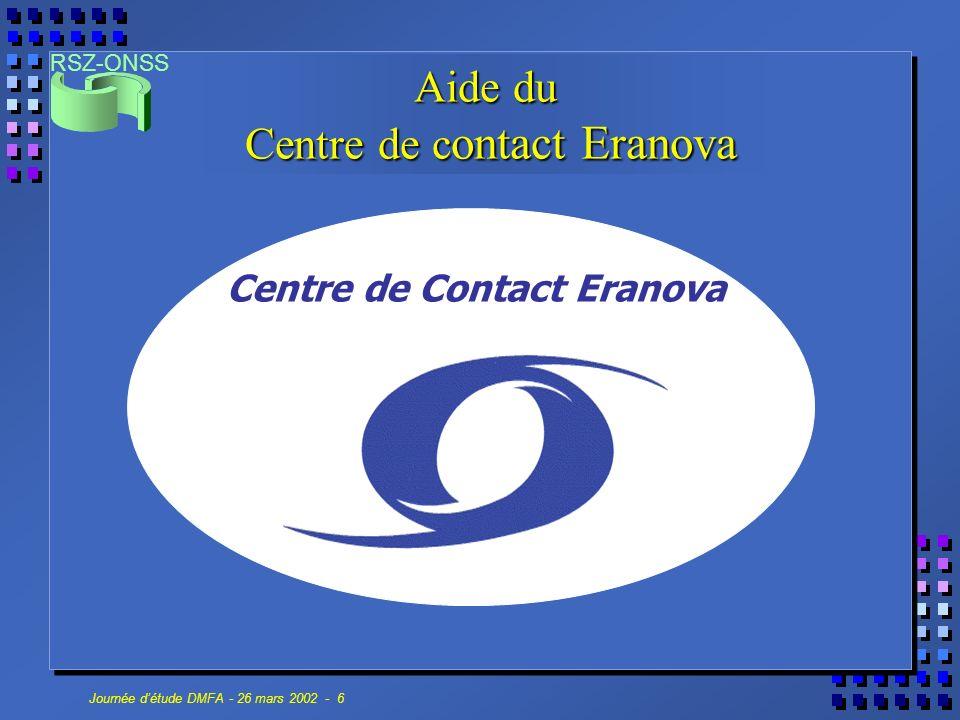 RSZ-ONSS Journée détude DMFA - 26 mars 2002 - 6 Aide du Centre de c ontact Eranova Centre de Contact Eranova
