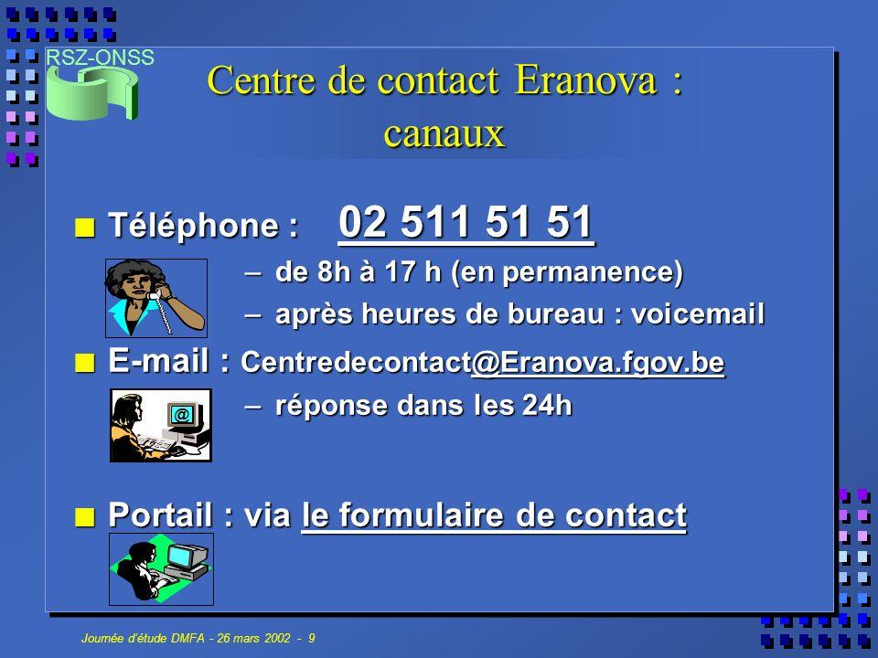 RSZ-ONSS Journée détude DMFA - 26 mars 2002 - 9 Centre de c ontact Eranova : canaux n Téléphone : 02 511 51 51 – de 8h à 17 h (en permanence) – après heures de bureau : voicemail n E-mail : Centredecontact@Eranova.fgov.be – réponse dans les 24h n Portail : via le formulaire de contact @