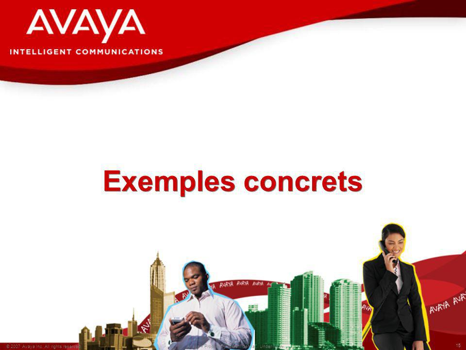 15 © 2007 Avaya Inc. All rights reserved. Avaya – Proprietary & Confidential. Under NDA Exemples concrets