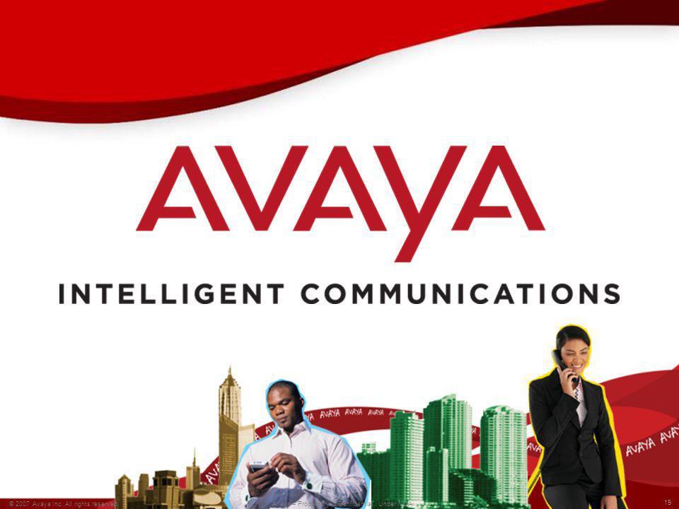 19 © 2007 Avaya Inc. All rights reserved. Avaya – Proprietary & Confidential. Under NDA