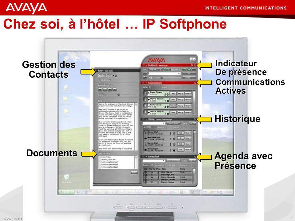 8 © 2007 Avaya Inc. All rights reserved. Avaya – Proprietary & Confidential. Under NDA Chez soi, à lhôtel … IP Softphone Documents Gestion des Contact
