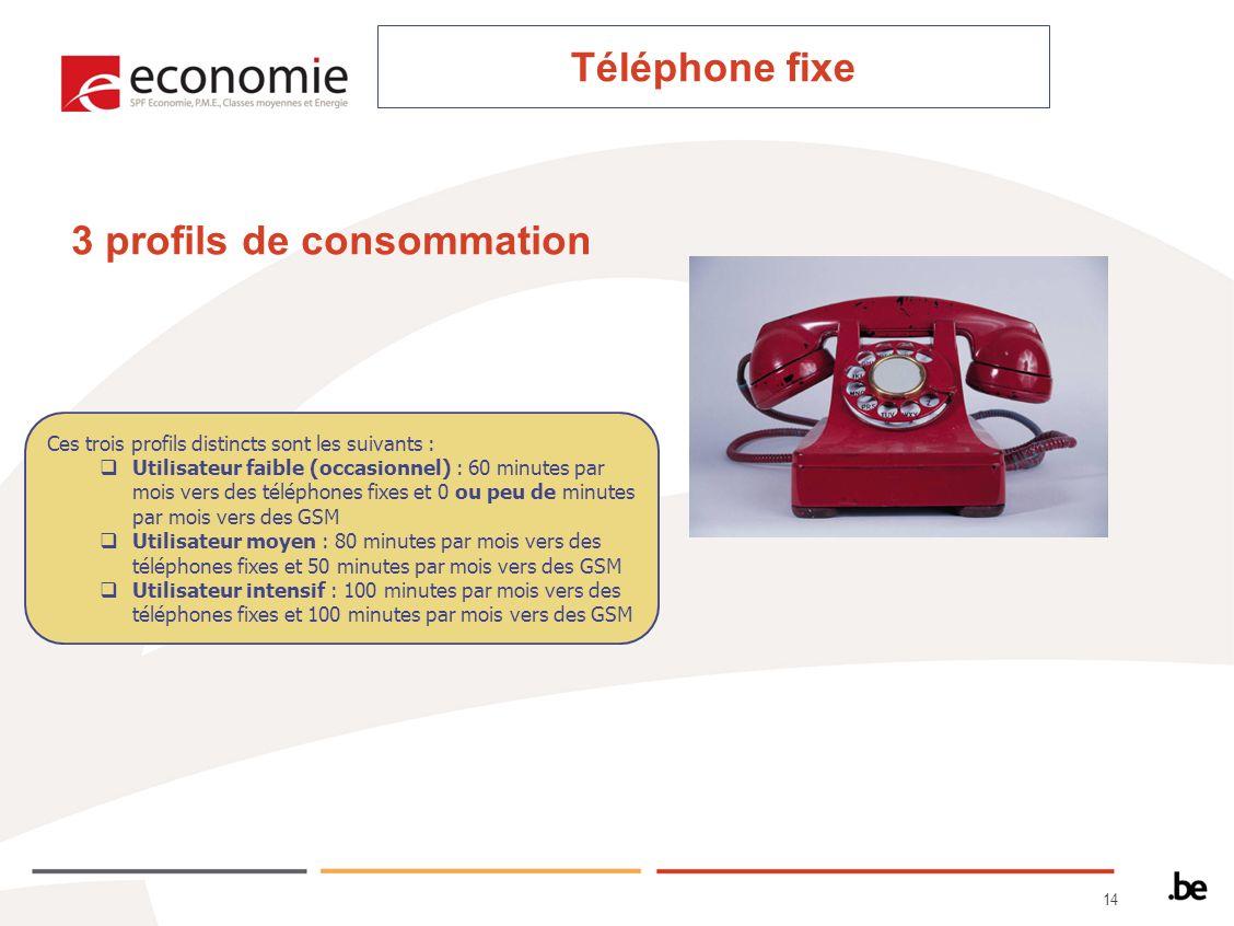 14 Ces trois profils distincts sont les suivants : Utilisateur faible (occasionnel) : 60 minutes par mois vers des téléphones fixes et 0 ou peu de minutes par mois vers des GSM Utilisateur moyen : 80 minutes par mois vers des téléphones fixes et 50 minutes par mois vers des GSM Utilisateur intensif : 100 minutes par mois vers des téléphones fixes et 100 minutes par mois vers des GSM 3 profils de consommation Téléphone fixe