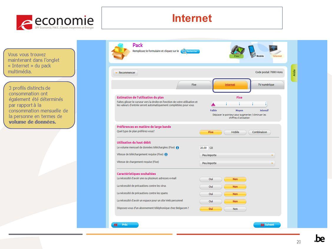 20 Internet Vous vous trouvez maintenant dans longlet « Internet » du pack multimédia.