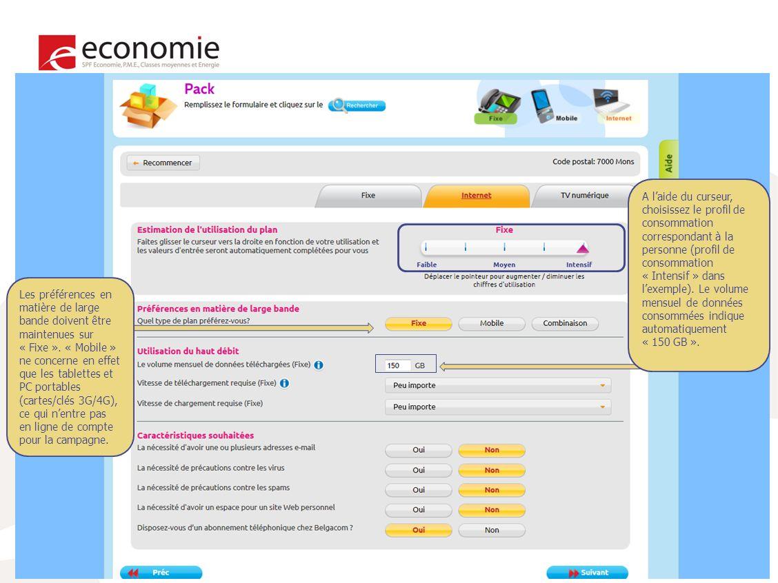 22 A laide du curseur, choisissez le profil de consommation correspondant à la personne (profil de consommation « Intensif » dans lexemple).