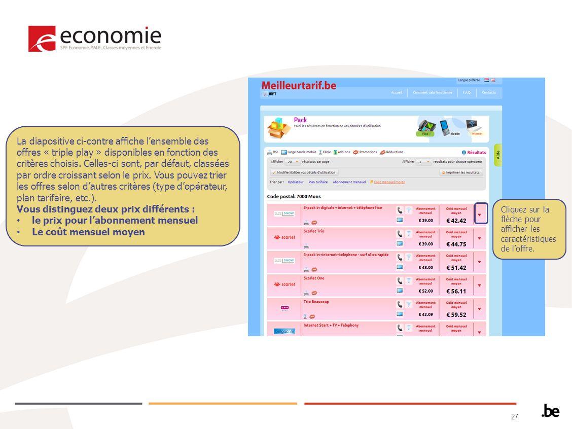 27 La diapositive ci-contre affiche lensemble des offres « triple play » disponibles en fonction des critères choisis.