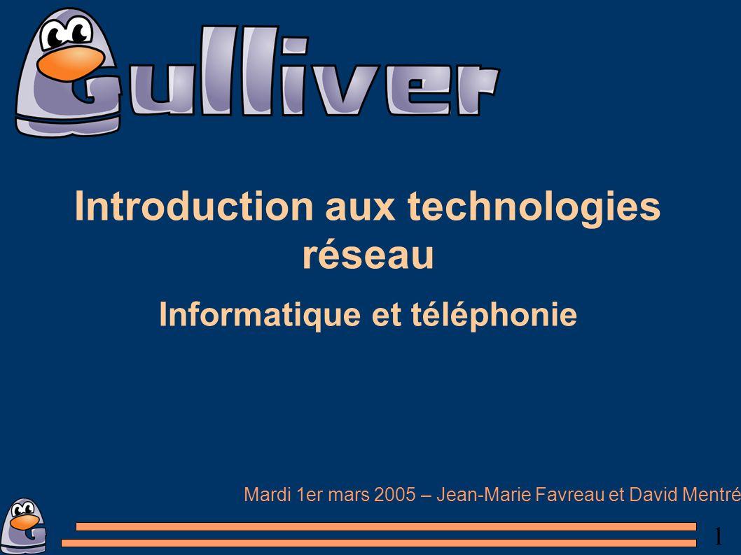 1 Introduction aux technologies réseau Informatique et téléphonie Mardi 1er mars 2005 – Jean-Marie Favreau et David Mentré