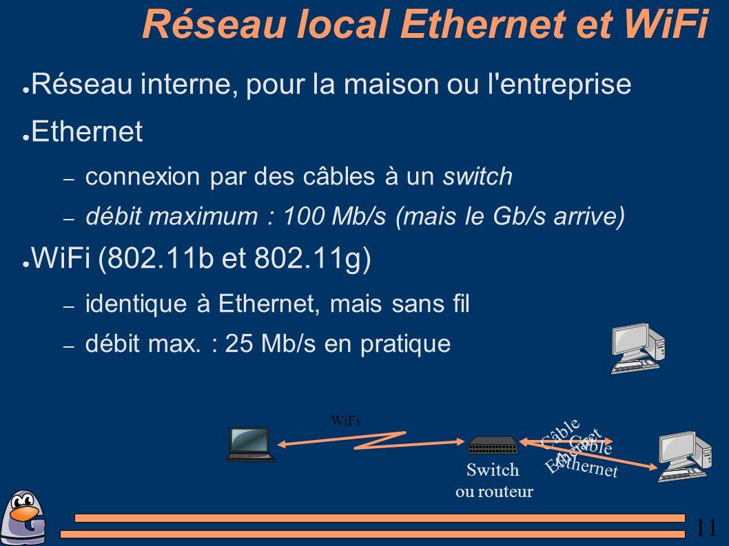 11 Réseau local Ethernet et WiFi Réseau interne, pour la maison ou l entreprise Ethernet – connexion par des câbles à un switch – débit maximum : 100 Mb/s (mais le Gb/s arrive) WiFi (802.11b et 802.11g) – identique à Ethernet, mais sans fil – débit max.