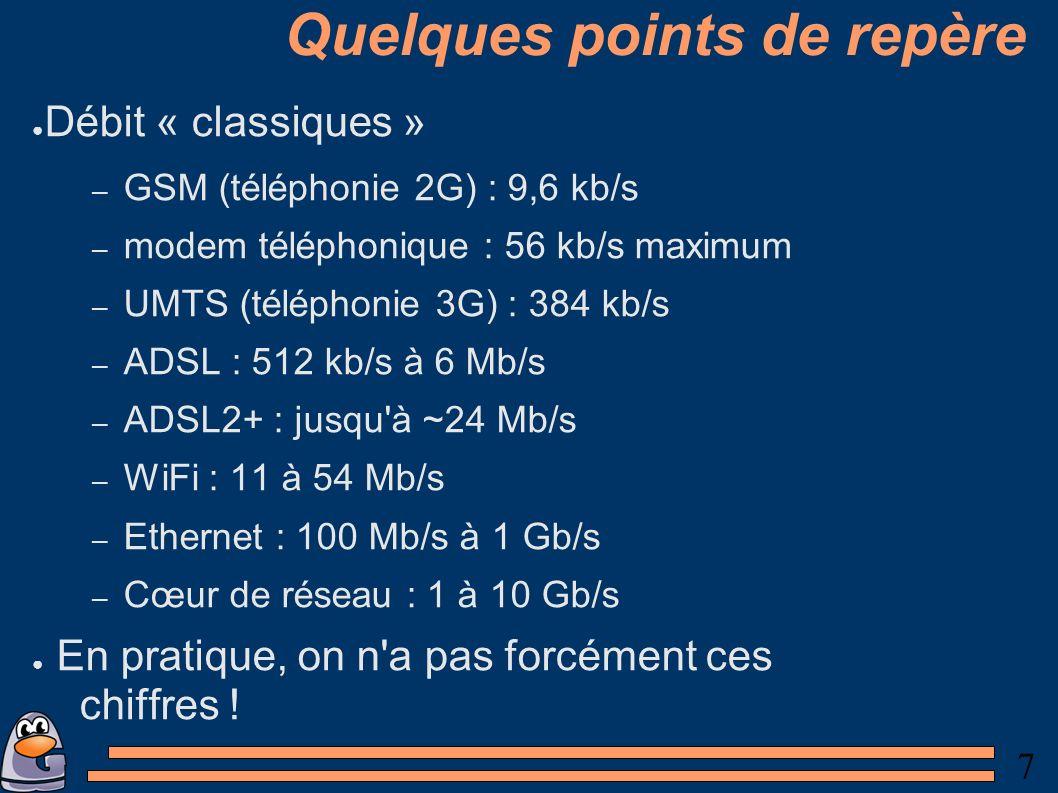 7 Quelques points de repère Débit « classiques » – GSM (téléphonie 2G) : 9,6 kb/s – modem téléphonique : 56 kb/s maximum – UMTS (téléphonie 3G) : 384 kb/s – ADSL : 512 kb/s à 6 Mb/s – ADSL2+ : jusqu à ~24 Mb/s – WiFi : 11 à 54 Mb/s – Ethernet : 100 Mb/s à 1 Gb/s – Cœur de réseau : 1 à 10 Gb/s En pratique, on n a pas forcément ces chiffres !