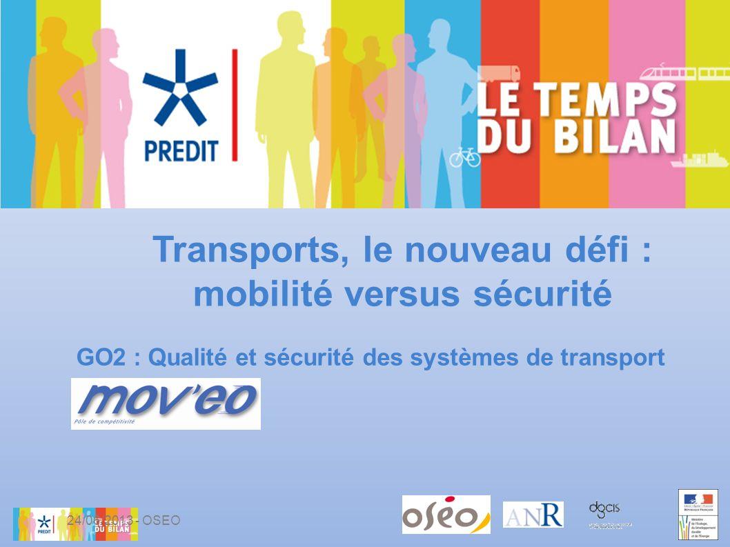 GO2 : Qualité et sécurité des systèmes de transport Transports, le nouveau défi : mobilité versus sécurité 24/06/2013 - OSEO