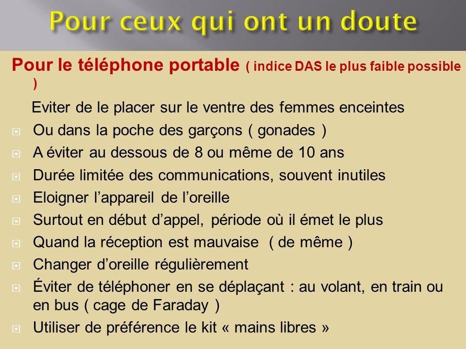 Pour le téléphone portable ( indice DAS le plus faible possible ) Eviter de le placer sur le ventre des femmes enceintes Ou dans la poche des garçons