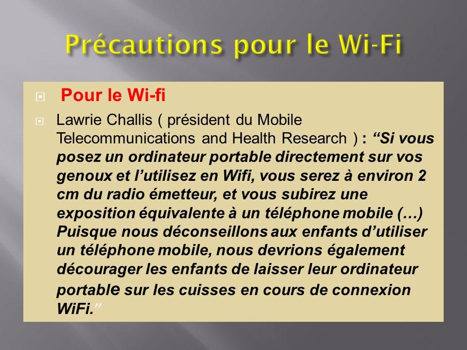 Pour le Wi-fi Lawrie Challis ( président du Mobile Telecommunications and Health Research ) : Si vous posez un ordinateur portable directement sur vos