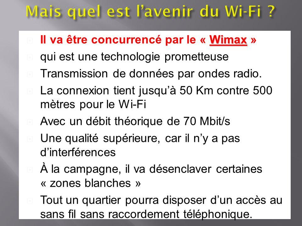 Wimax Il va être concurrencé par le « Wimax » qui est une technologie prometteuse Transmission de données par ondes radio. La connexion tient jusquà 5
