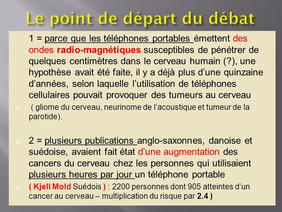 1 = parce que les téléphones portables émettent des ondes radio-magnétiques susceptibles de pénétrer de quelques centimètres dans le cerveau humain (?
