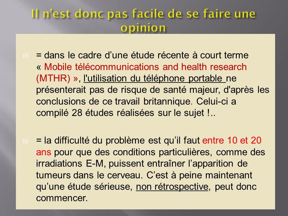 = dans le cadre dune étude récente à court terme « Mobile télécommunications and health research (MTHR) », l'utilisation du téléphone portable ne prés