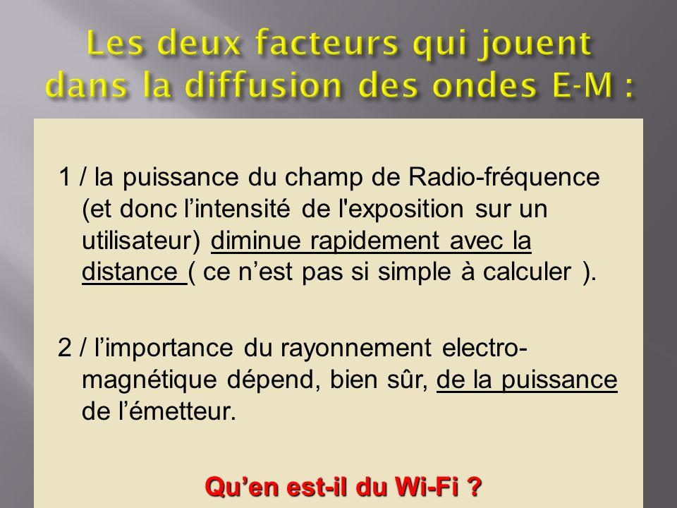 1 / la puissance du champ de Radio-fréquence (et donc lintensité de l'exposition sur un utilisateur) diminue rapidement avec la distance ( ce nest pas