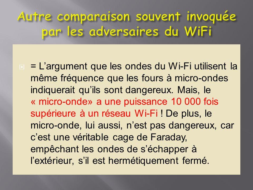 = Largument que les ondes du Wi-Fi utilisent la même fréquence que les fours à micro-ondes indiquerait quils sont dangereux. Mais, le « micro-onde» a