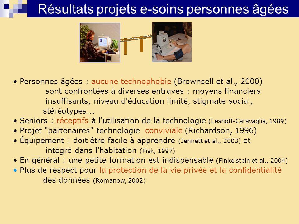 Résultats projets e-soins personnes âgées Personnes âgées : aucune technophobie (Brownsell et al., 2000) sont confrontées à diverses entraves : moyens