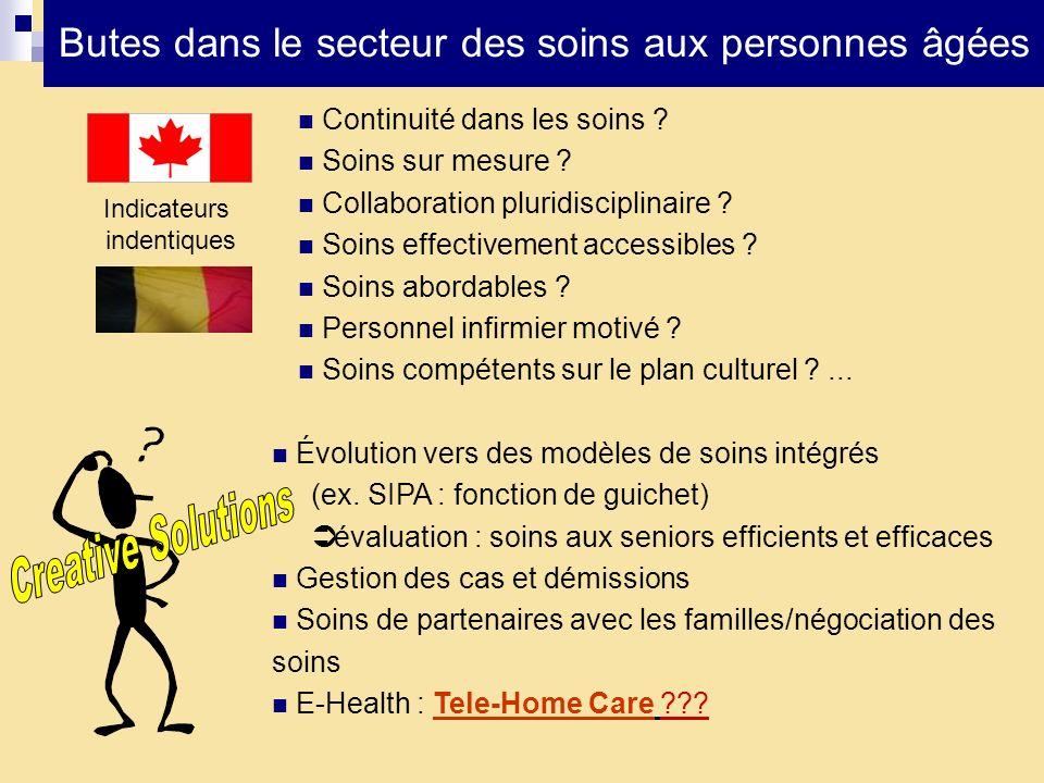 Butes dans le secteur des soins aux personnes âgées Indicateurs indentiques Continuité dans les soins ? Soins sur mesure ? Collaboration pluridiscipli